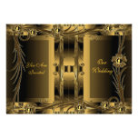 Invitation Wedding Old Gold Art Deco Floral