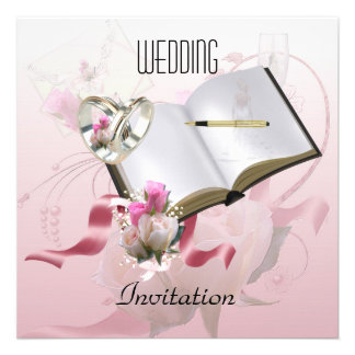 Invitation Wedding Pink Floral Rings Invitations