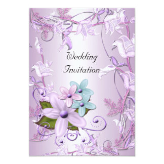 Invitation Wedding Purple Mauve Floral