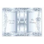 Invitation Wedding Silver Blue Art Deco Floral