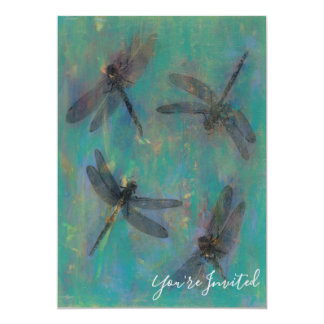 Invitation With Dragonflies In Blue & Green