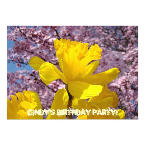 Invitations Birthday Party Cards Spring Daffodils