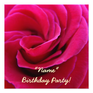 Invitations Birthday Party Pink Rose Flower Cards