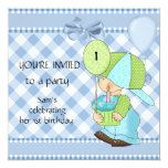 Invitations Boys 1st Birthday Blue White Gingham Personalized Announcements