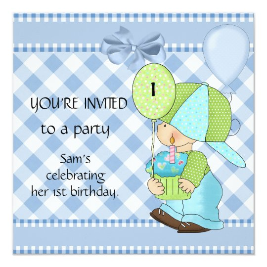Invitations Boys 1st Birthday Blue White Gingham