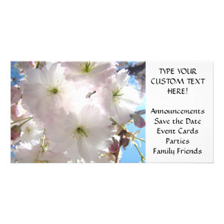 INVITATIONS Pink Blossoms Announcement Cards Event Customized Photo Card