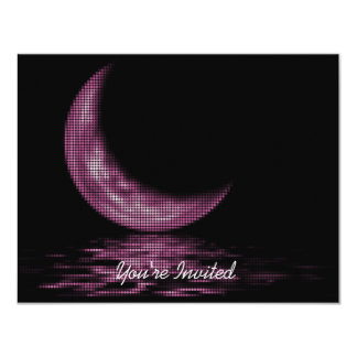 INVITATIONS -Reflection Crescent Moon On Lake Pink