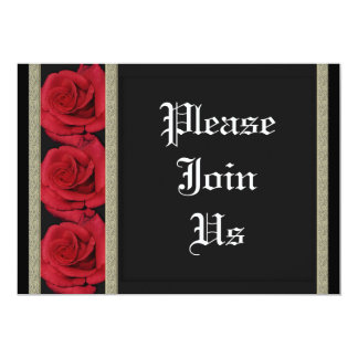 """Invitations template - customizable red roses 5"""" x 7"""" invitation card"""