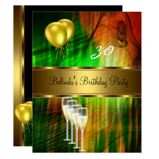 Invite 30th Birthday Party Green Yellow Balloons