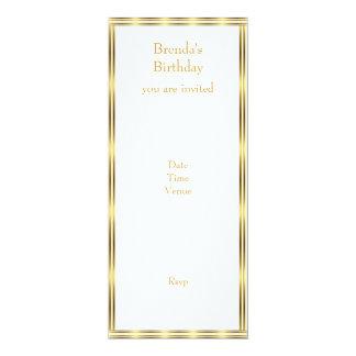 """Invite Elegant Gold & White Stripe Horizontal 4"""" X 9.25"""" Invitation Card"""