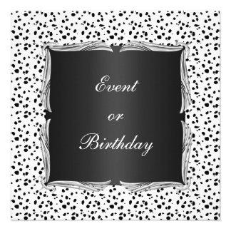 Invite Event White Black Spots with Silver Trim Personalized Invitation