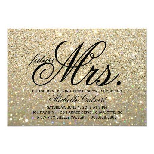 Invite - Gold Glit Fab Bridal Shower future Mrs.