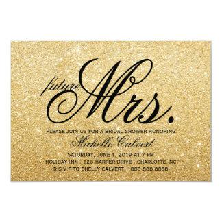 "Invite - Golden Glitter Bridal Shower future Mrs. 3.5"" X 5"" Invitation Card"