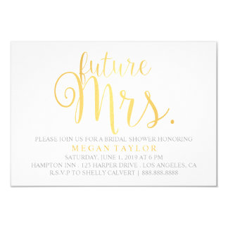 Invite - Golden Script future Mrs. Bridal Shower