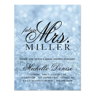 Invite - Lit Blue Glit Fab future Mrs. Bridal