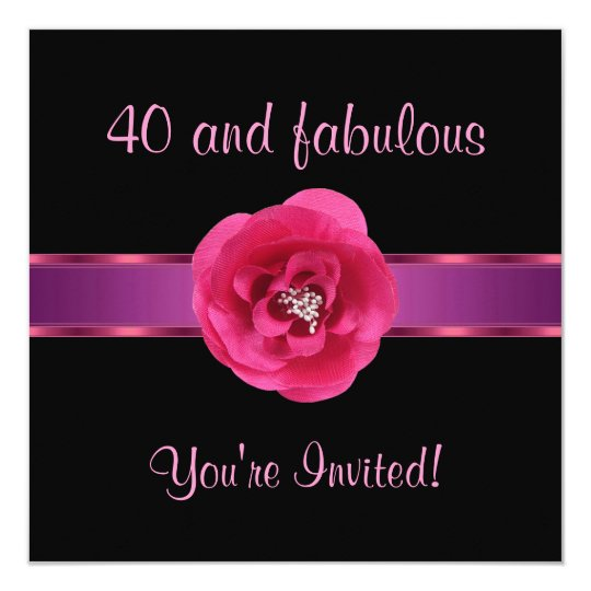 Invite Party Black Pink Flower Fabulous 40th