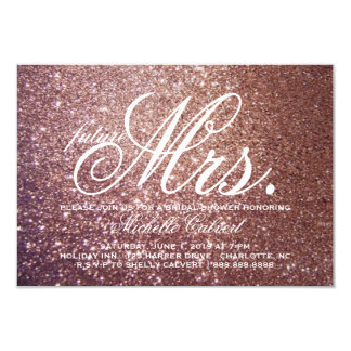 "Invite - Rose Glitter Bridal Shower future Mrs. 3.5"" X 5"" Invitation Card"