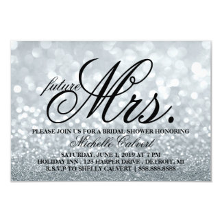 Invite - Silver Glit Fab Bridal Shower future Mrs.