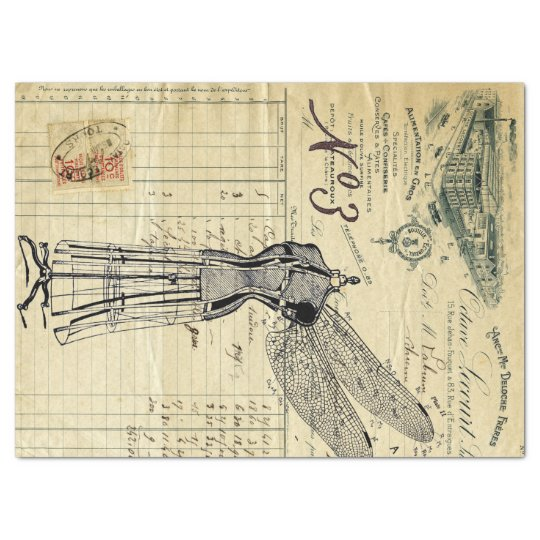 Invoice Ephemera Dragonfly Collage Tissue Paper