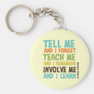 Involve Me Inspirational Quote Basic Round Button Key Ring