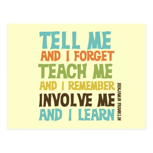 Involve Me Inspirational Quote Post Card