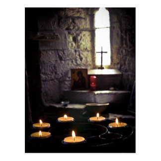 Iona Abbey Candles Postcard