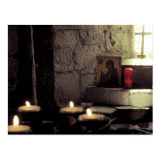 Iona Abbey Candles Postcard
