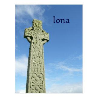Iona Abbey Scotland celtic cross Postcard
