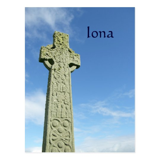 Iona Abbey Scotland celtic cross Postcard