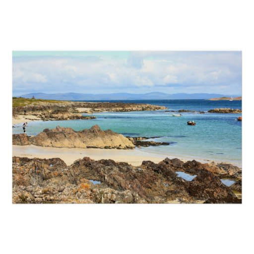 Iona, Scottish island, beautiful rocky seashore Poster