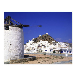 Ios, Greece. The beautful and crisp, white and Postcard