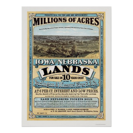 Iowa and Nebraska Land Advertisement 1872 Poster