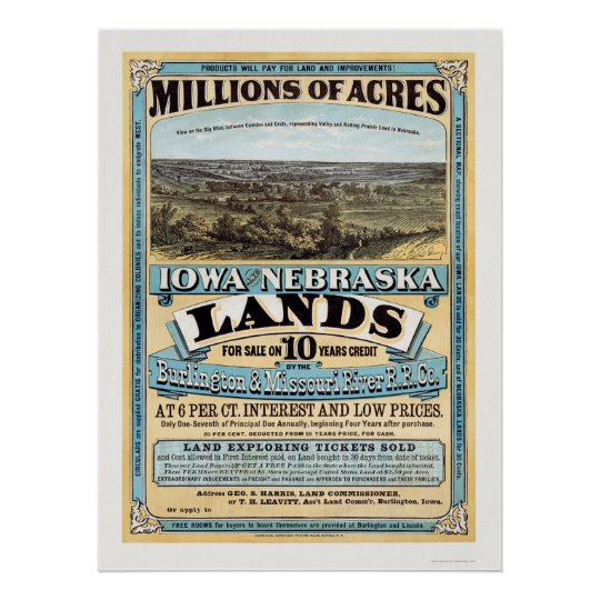 Iowa and Nebraska Land Advertisement 1872 Poster