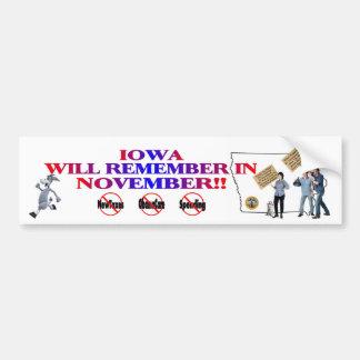 Iowa - Anti ObamaCare, New Taxes & Spending Bumper Sticker