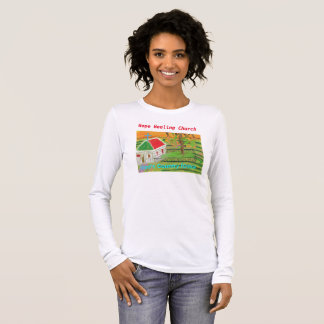 Iowa Christian Farm Church Scene Long T-Shirt