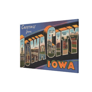 Iowa City, Iowa - Large Letter Scenes Canvas Print