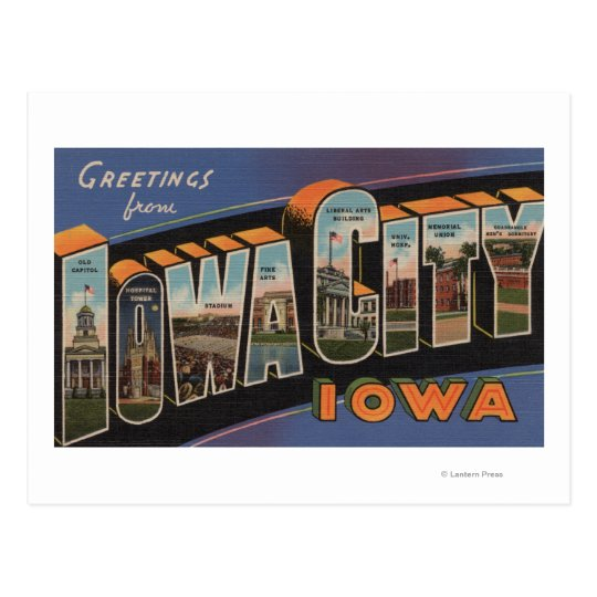 Iowa City, Iowa - Large Letter Scenes Postcard