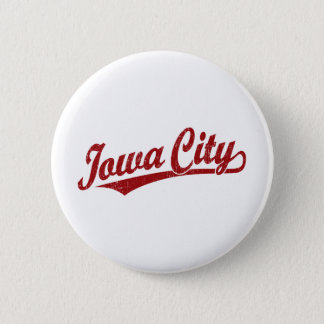 Iowa City script logo in red distressed 6 Cm Round Badge