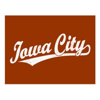 Iowa City script logo in white distressed Postcard