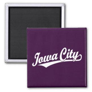 Iowa City script logo in white Square Magnet