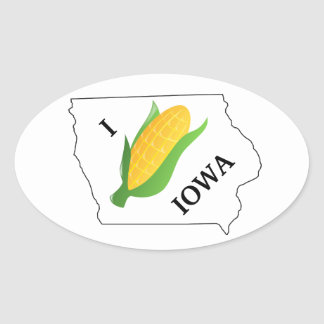 Iowa Corn Sticker- Corny spin off of I heart NY Oval Sticker