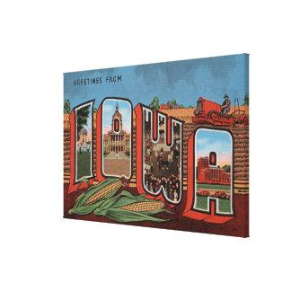 Iowa (Cornfields & Corn) - Large Letter Scenes Canvas Print