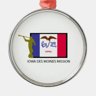 IOWA DES MOINES MISSION LDS CTR Silver-Colored ROUND DECORATION