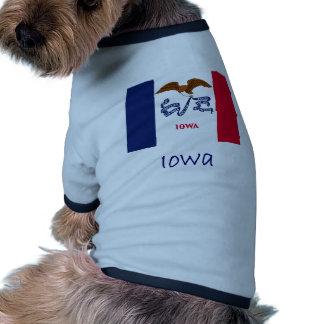 Iowa Flag And Name Ringer Dog Shirt