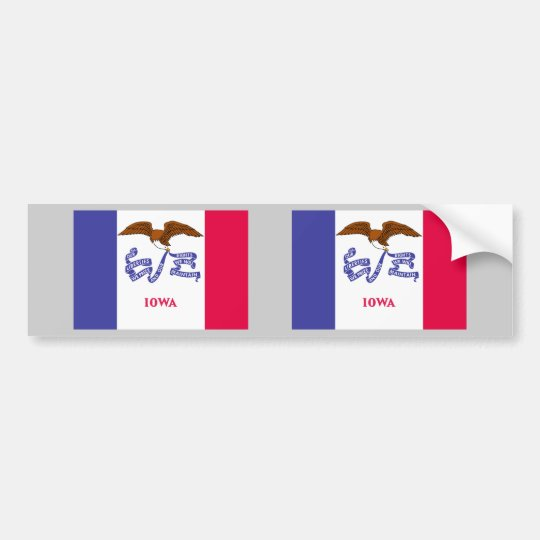 Iowa Flag Bumper Sticker