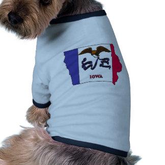 Iowa Flag Map Doggie Tee Shirt