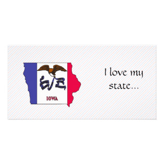 Iowa Flag Map Personalized Photo Card