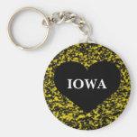 Iowa Heart Yellow Basic Round Button Key Ring