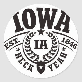 Iowa Heck Yeah Est 1846 Round Stickers