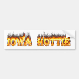 Iowa hottie fire and flames bumper sticker